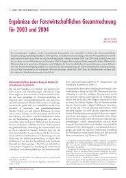Ergebnisse der Forstwirtschaftlichen Gesamtrechnung für 2003 und ...