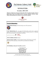 The Emirates Culinary Guild NEWSLETTER