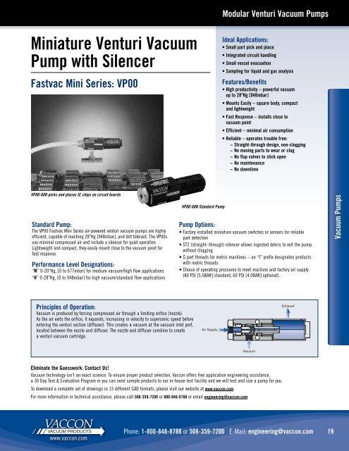 Miniature Venturi Vacuum Pump with Silencer