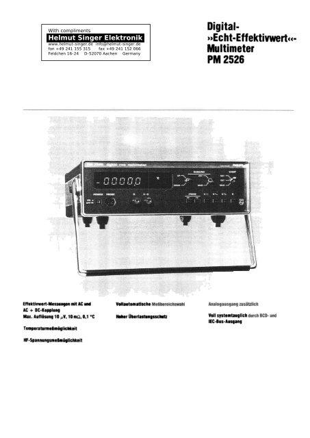 Multimeter PM 2526 - Helmut Singer Elektronik