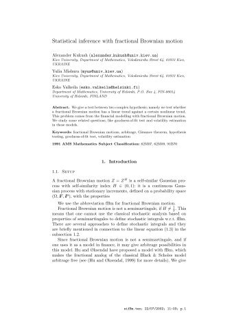 Statistical inference with fractional Brownian motion - Helsinki.fi