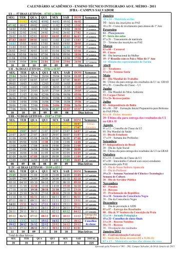 Calendário 2011 - IFBA