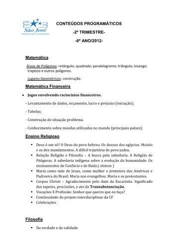 CONTEÚDOS PROGRAMÁTICOS -2º TRIMESTRE- -6º ANO/2012 ...