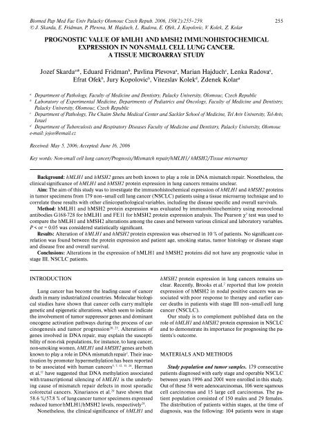 PROGNOSTIC VALUE OF hMLH1 AND hMSH2 ... - ResearchGate