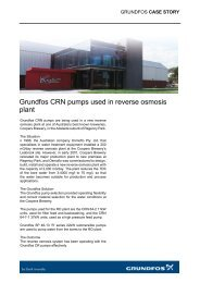 Grundfos CRN pumps used in reverse osmosis plant