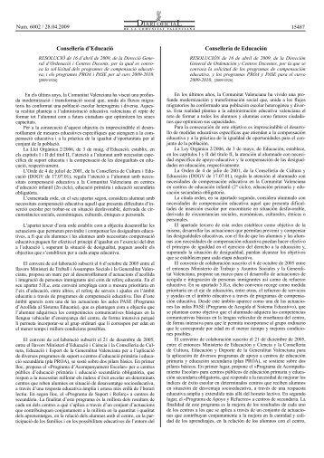 RESOLUCIÓ de 16 d'abril de 2009, de la Direcció General d ...