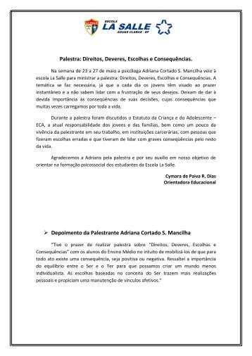 Palestra: Direitos, Deveres, Escolhas e Consequências ... - La Salle