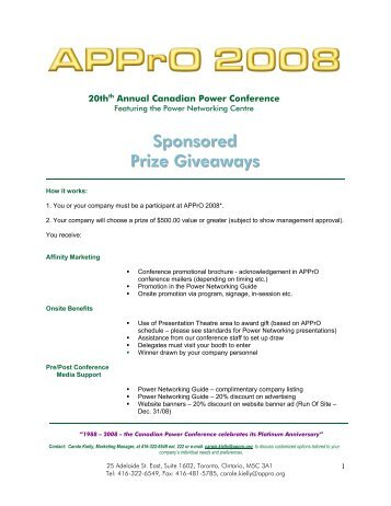 Sponsored Prize Giveaways - APPrO