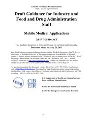 Draft Guidance for Industry and Food and Drug Administration Staff