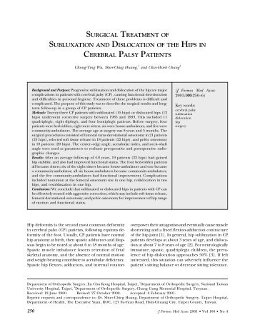 surgical treatment of subluxation and dislocation of the hips in ...