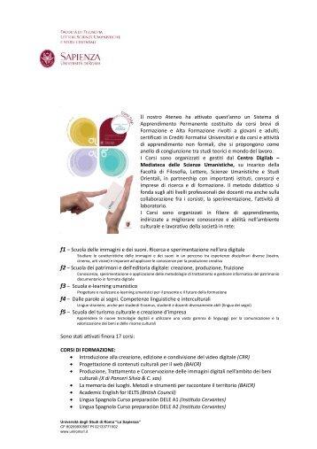 Presentazione dei Corsi - Facoltà di Scienze Umanistiche - Sapienza