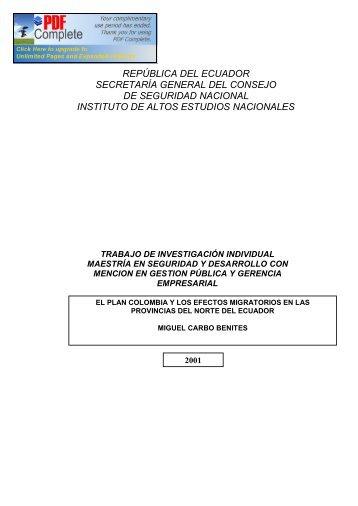 república del ecuador - Repositorio Digital IAEN - Instituto de Altos ...