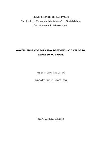 Governança Corporativa, Desempenho e Valor da Empresa no Brasil