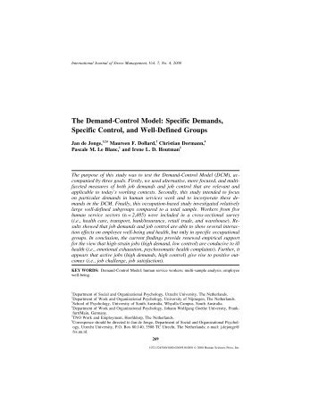 The Demand-Control Model: Specific Demands ... - Study at UniSA