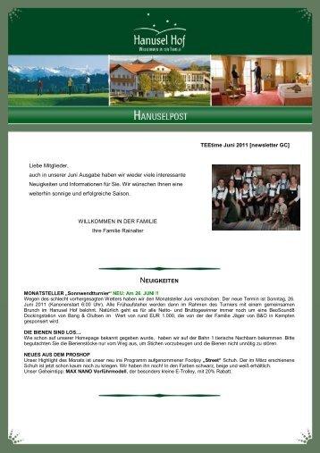 TEEtime Juni 2011 [newsletter GC] Liebe Mitglieder, auch in unserer ...