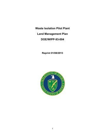 WIPP Land Management Plan - Waste Isolation Pilot Plant - U.S. ...