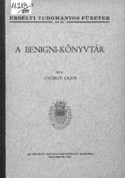 ETF 155. György Lajos: A Benigni-könyvtár. - MEK