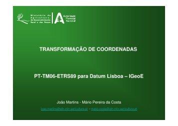 PT-TM06-ETRS89 para Datum Lisboa – IGeoE - ICNF