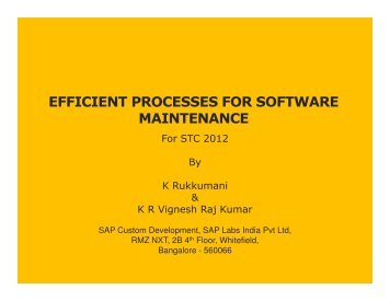 EFFICIENT PROCESSES FOR SOFTWARE MAINTENANCE - QAI