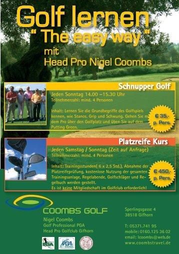 Teilnehmerzahl: mind. 4 Personen Inhalt - Golfclub Gifhorn e.V.