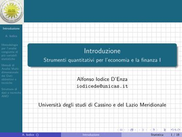 Introduzione - Strumenti quantitativi per l ... - Docente.unicas.it