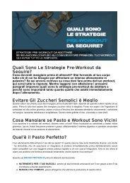 Quali Sono Le Strategie Pre-Workout da Seguire ... - Ultimate Italia