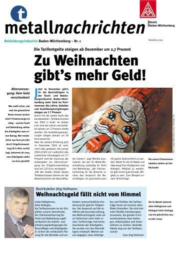 Metallnachrichten Bekleidungsindustrie Baden-Württemberg 1 ...