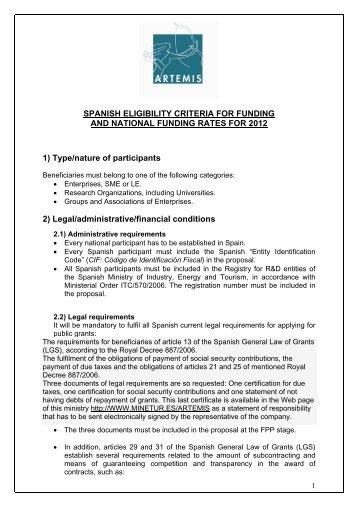 ARTEMIS Spain Criteria Rates 2012