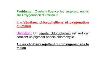 Quelle influence les végétaux ont-ils sur l'oxygénation du milieu