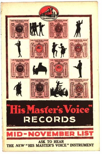 His Master's Voice Mid Monthly List November 1925 - British Library ...