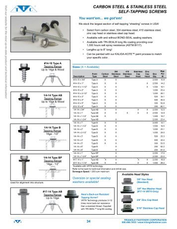 304 Stainless Steel Self Tapper - Triangle Fastener
