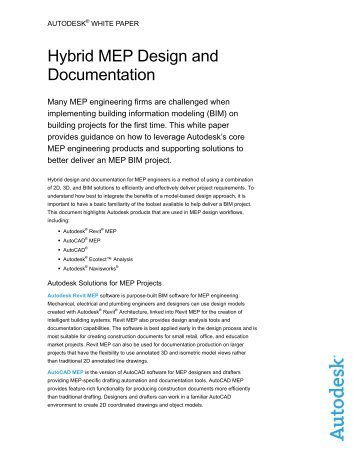 Hybrid MEP Design and Documentation F - Autodesk