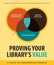 Proving Your Library's Value: A Toolkit for Transportation Librarians