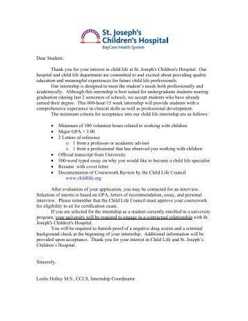 Thank you for your interest in child life at St. Joseph's Children's ...