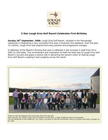 5 Star Lough Erne Golf Resort Celebrates First Birthday