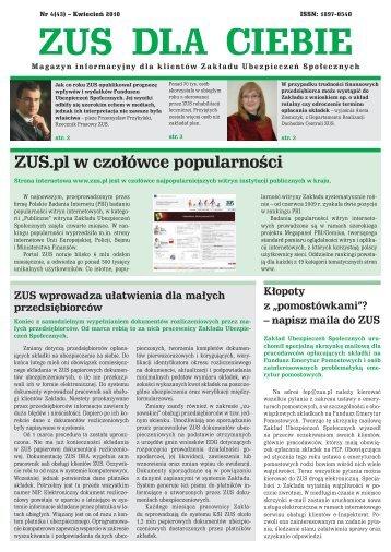 ZUS dla Ciebie nr 4/2010 [PDF 133KB] - Główna Strona ZUS
