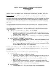 Academic Advising Consultants & Speaker Service ... - NACADA