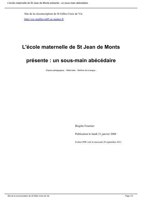 L école Maternelle De St Jean De Monts Présente Un Sous
