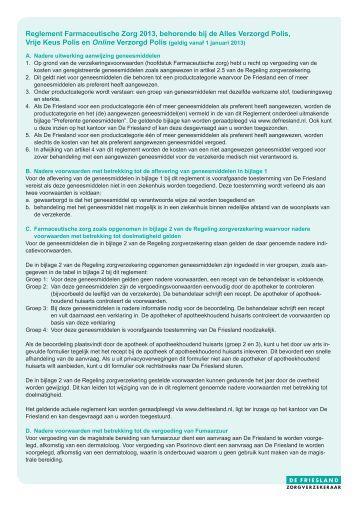 Bijlage 1 bij het farmaceutisch reglement