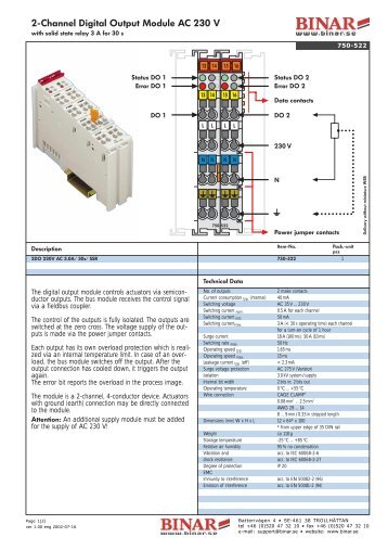 2-Channel Digital Output Module AC 230 V - Binar Elektronik
