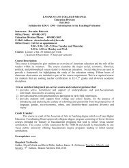 EDUC 1301 Syllabus - Lamar State College-Orange