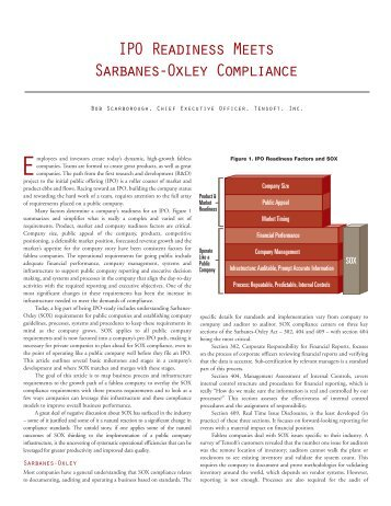 IPO Readiness Meets Sarbanes-Oxley Compliance - Tensoft