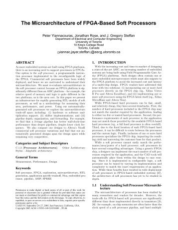 The Microarchitecture of FPGA-Based Soft Processors - CiteSeerX