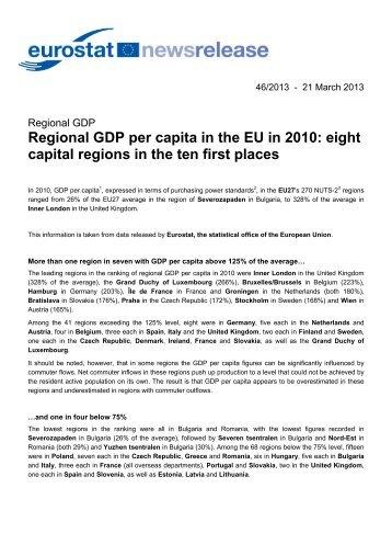 Regional GDP per capita in the EU in 2010: eight capital regions in ...