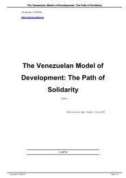 The Venezuelan Model of Development: The Path of Solidarity - cadtm