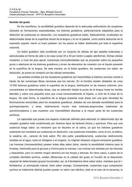 TP Nº 12 Receptores sensoriales. - Facultad de Ciencias Naturales