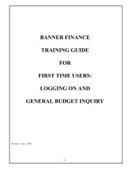 banner finance training guide for first time users - Winthrop University