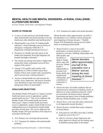 Mental Health and Mental Disorders—A Rural - School of Rural ...
