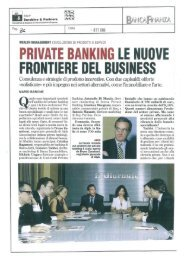 PRIVATE BANKING LE NUOVE FRONTIERE DEL BUSINESS