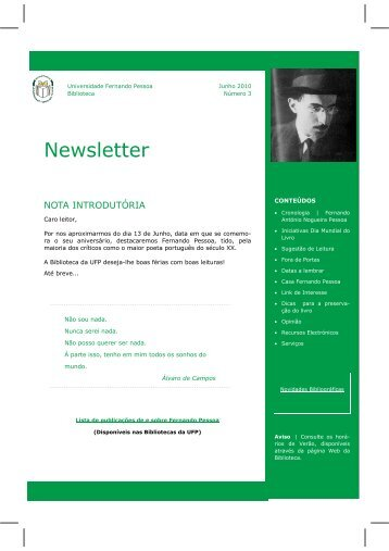 Newsletter - Universidade Fernando Pessoa